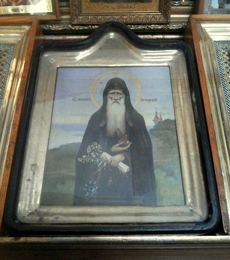 Икона преподобного Агапита, врача Киево-Печерского с частицей его мощей