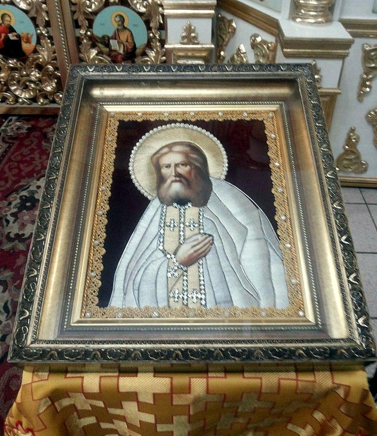 Икона преподобного Сарафима Саровского вышитая золотой и серебряной нитью